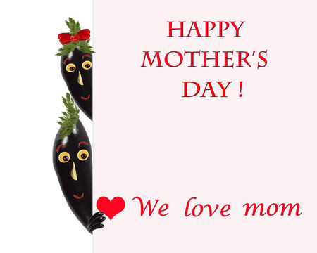 Greeting card for mom with cute eggplants photo