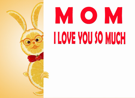 Greeting card for mom with cute animals, made of vegetable  and fruits. photo