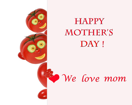 Greeting card for mom with cute tomatos photo