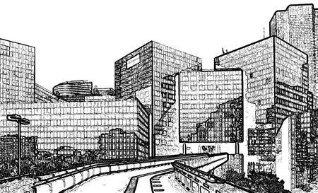 high rise buildings: Street Through Business District