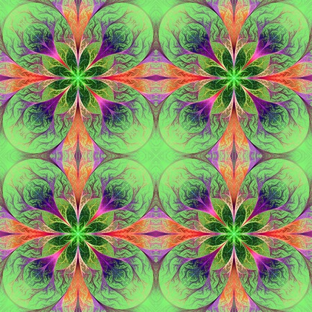 feelers: Pattern from fractal flowes in green, purple and pink. Computer generated graphics.