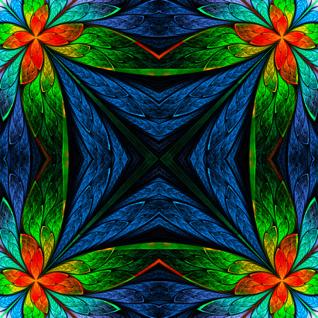 symmetrical: Symmetrical flower pattern in stained-glass window style on black.  Stock Photo