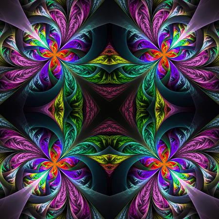frosty: Symmetric multicolored fractal tracery. Collection - frosty pattern. On black. Stock Photo