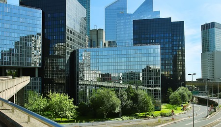Modern buildings in the business district of La Defense to the west of Paris, France.