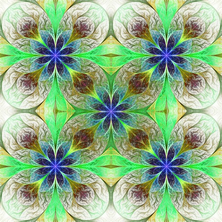 generating: Pattern from fractal flowes in purple, green and yellow. Computer generated graphics.