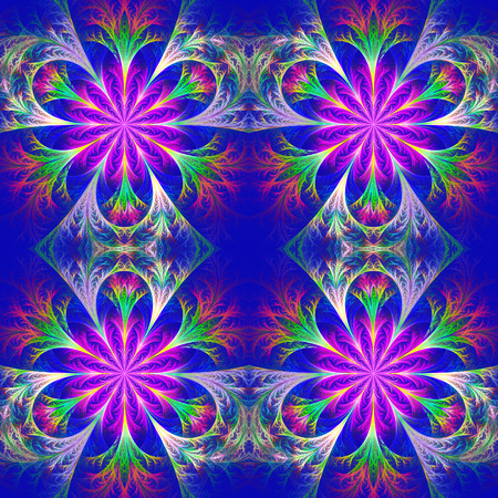 frosty: Beautiful pattern in fractal design. Collection - frosty pattern. Purple and Blue palette. Stock Photo