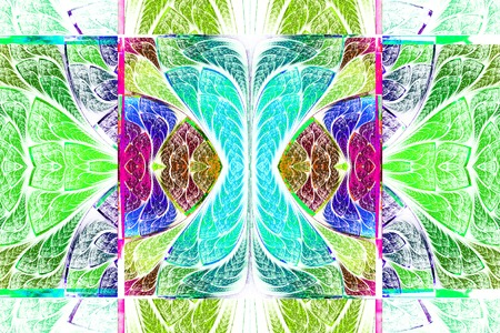 Multicolored symmetrical geometric pattern in stained glass style. On white. Computer generated graphics.
