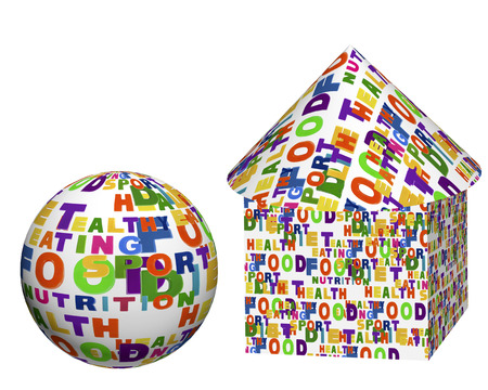 expressed: Conceptual image of a tag cloud, expressed as geometric shapes - a sphere, box, cylinder and cone