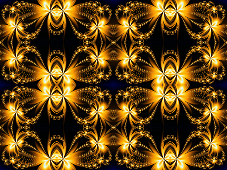 generating: Fire Flower pattern in fractal design. Brown and fire. Computer generated graphics.