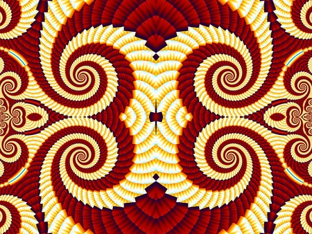 Symmetrical Pattern from Spiral fractal. Yellow and brown palette. Computer generated graphics.