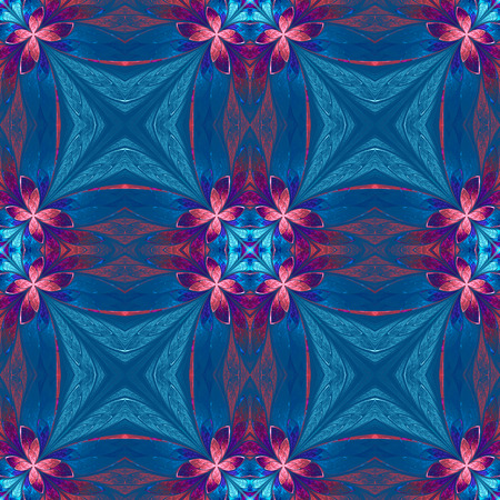 plait: Symmetrical flower pattern in stained-glass window style on blue. Blue, pink and purple palette. Computer generated graphics.