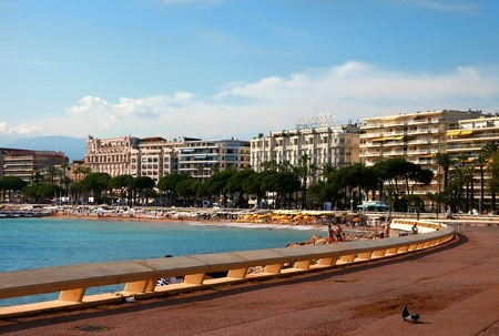 maritimes: CANNES, FRANCE -  JULY 5, 2014. Cannes bay in alpes maritimes french riviera France. Cannes located in the French Riviera. The city is famous for its Film Festival. FRANCE, - JULY 5, CANNES 2014