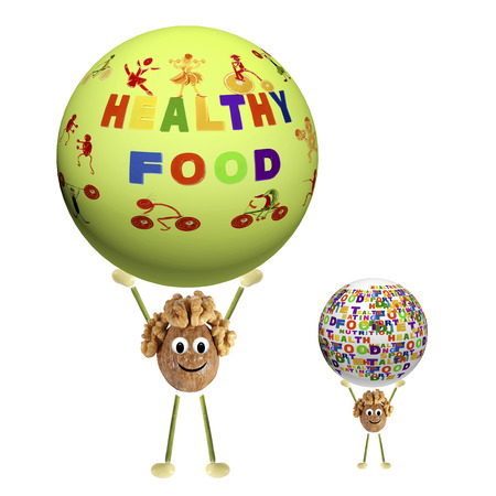 Two funny little nut holding sphere with the words healthy food, sports, health, diet, nutrition, etc.