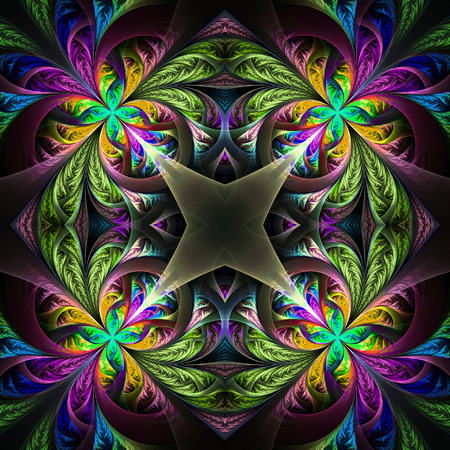 Symmetric multicolored fractal tracery. Collection - frosty pattern. On black. Stock Photo