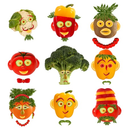 Creative set of food concept. A few  funny portraits from vegetables and fruits. Stock Photo