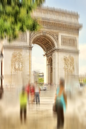 traditionally french: Abstract background. Arch of Triumph, Paris, France.  Blur effect defocusing filter applied Stock Photo