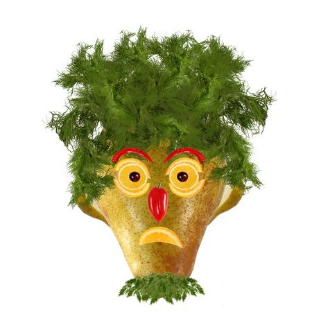 frutas divertidas: Comida creativa. Cara divertida hecha ?? de peras y naranjas
