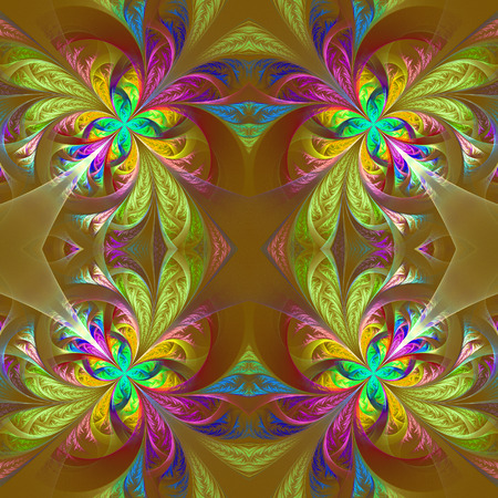 frosty: Symmetric multicolored fractal tracery. Collection - frosty pattern. On brown.