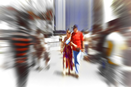 creativ: Abstract background. Pedestrians walking - rush hour in Barcelona, Spain.  Radial zoom blur effect defocusing filter applied