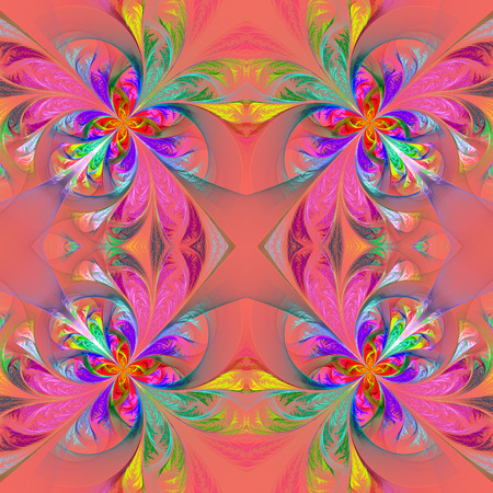 tracery: Symmetric multicolored fractal tracery. Collection - frosty pattern. On pink.