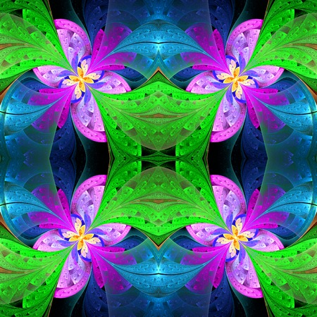 batik: Belle motif sym�trique dans le style vitrail. Vert, bleu, palette de rose. G�n�r�es par ordinateur graphiques.