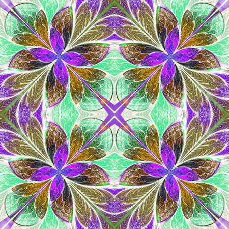 Multicolored symmetrical pattern in stained-glass window style on light. Computer generated graphics.