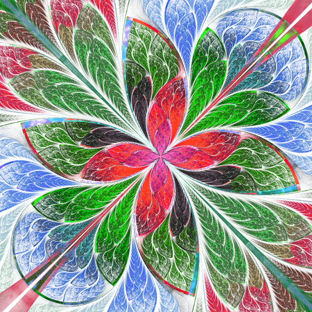 puzzle corners: Multicolored fractal flower or butterfly in stained-glass window style on light. Computer generated graphics.