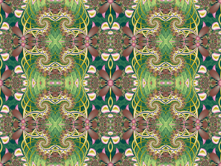 tapis: Flower pattern in fractal design. Green and pink palette. Computer generated graphics. Stock Photo