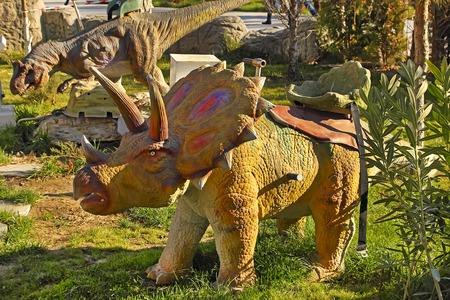 lifelike: Ashgabat, Turkmenistan - December 23, 2014.  Realistic model of  Dinosaur in the central park Ashgabat. Ashgabat, December 23, 2014. Ashgabat the capital of Turkmenistan.