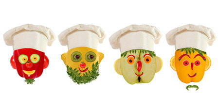 food concept: Creative set of food concept. A few  funny portraits from vegetables and fruits. Stock Photo