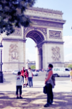 traditionally french: Abstract background. Arch of Triumph, Paris, France.  Blur effect defocusing filter applied, with vintage instagram look. Stock Photo
