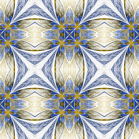 generate: Symmetrical flower pattern in stained-glass window style on light. Beige and blue palette. Computer generated graphics. Stock Photo