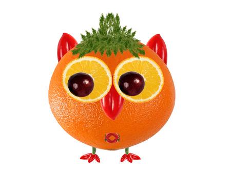 zanahoria caricatura: Creative food concept. Little  Owl made from orange Foto de archivo
