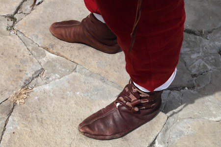 genuine leather: Part of the medieval clothes. Shoes made of genuine leather, made by hand.