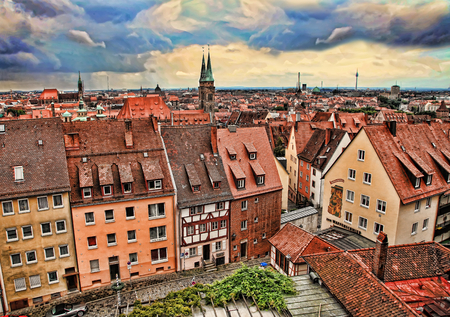 baukunst: NURNBERG, GERMANY - JULY 13 2014.  Cityescape of Nuremberg, Germany, from the castle walls