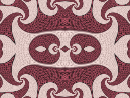 vinous: Symmetrical Textured Background with Spirals. Pink and vinous palette. Computer generated graphics.