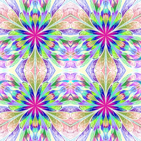 symmetrical: Multicolored symmetrical pattern in stained-glass window style. Computer generated graphics. Stock Photo