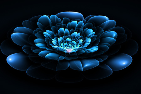 fractals: Fractal flower in blue. Computer generated graphics.