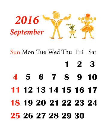 calendar september: 2016 Calendar. September.  Little funny people from vegetables and fruits.