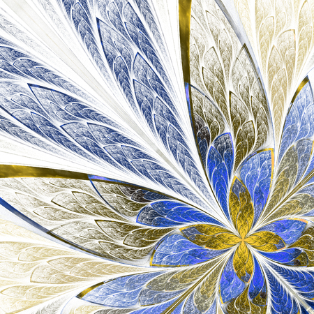 puzzle corners: Fractal flower or butterfly in stained-glass window style on light. Beige and blue palette. Computer generated graphics. Stock Photo