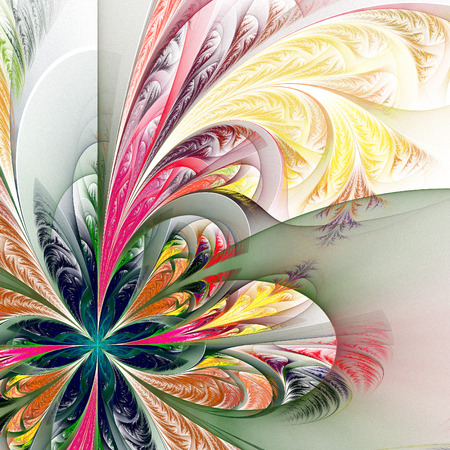 tracery: Diagonal asymmetrical multicolor fractal tracery. Collection - frosty pattern. On white. Stock Photo