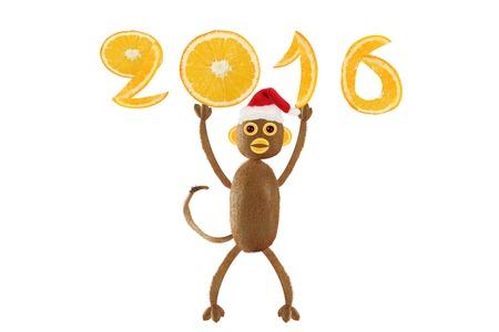 weihnachtsmann lustig: Monkey Santa Claus holding in 2016 Lizenzfreie Bilder