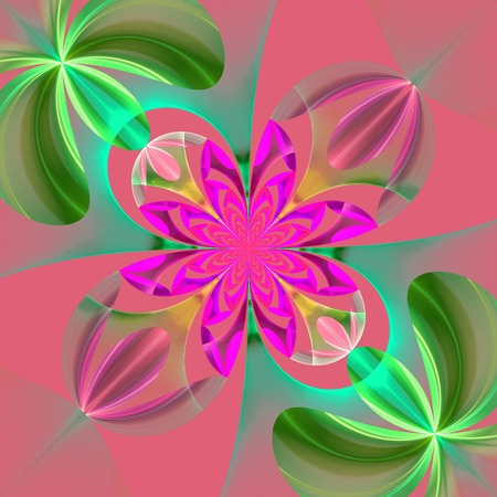 composition art: Diagonal symmetrical pattern of the flower petals. Green and pink palette. Computer generated graphics.