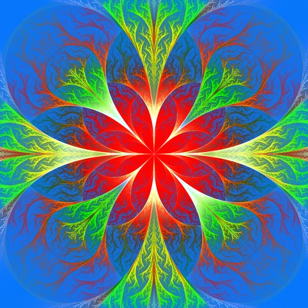 feelers: Beautiful red fractal flower. Computer generated graphics. Artwork for creative design, art and entertainment.