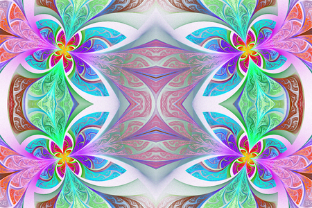 carpet flooring: Multicolored Symmetrical flower pattern in stained-glass window style. Green and purple palette. Artwork for creative design, art and entertainment. Stock Photo