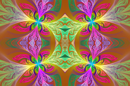 carpet and flooring: Multicolored Symmetrical flower pattern in stained-glass window style. Green and purple palette. Artwork for creative design, art and entertainment. Stock Photo