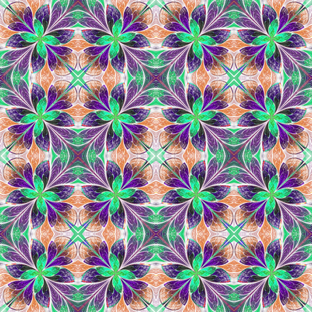 puzzle corners: Multicolored symmetrical pattern in stained-glass window style on light. Computer generated graphics.