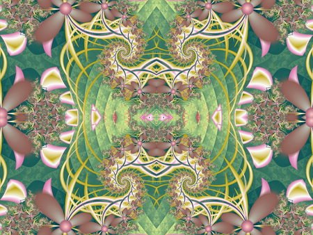 carpet and flooring: Flower pattern in fractal design. Green and pink palette. Computer generated graphics. Stock Photo