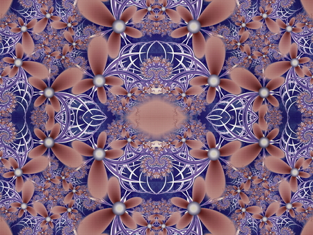 carpet flooring: Flower pattern in fractal design. Blue and brown palette. Computer generated graphics. Stock Photo