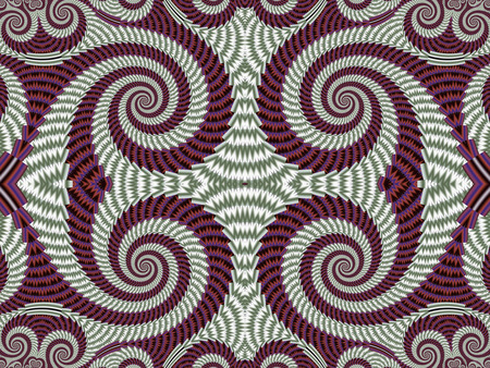 vinous: Symmetrical Textured Background with Spirals. Gray and vinous palette. Computer generated graphics.